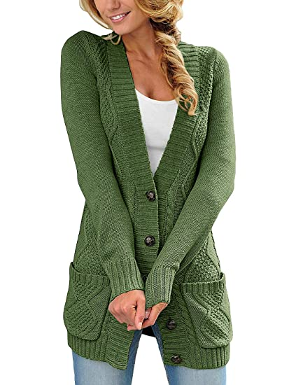 Luvamia Womens Long Sleeve Open Front Buttons Cable Knit Pocket