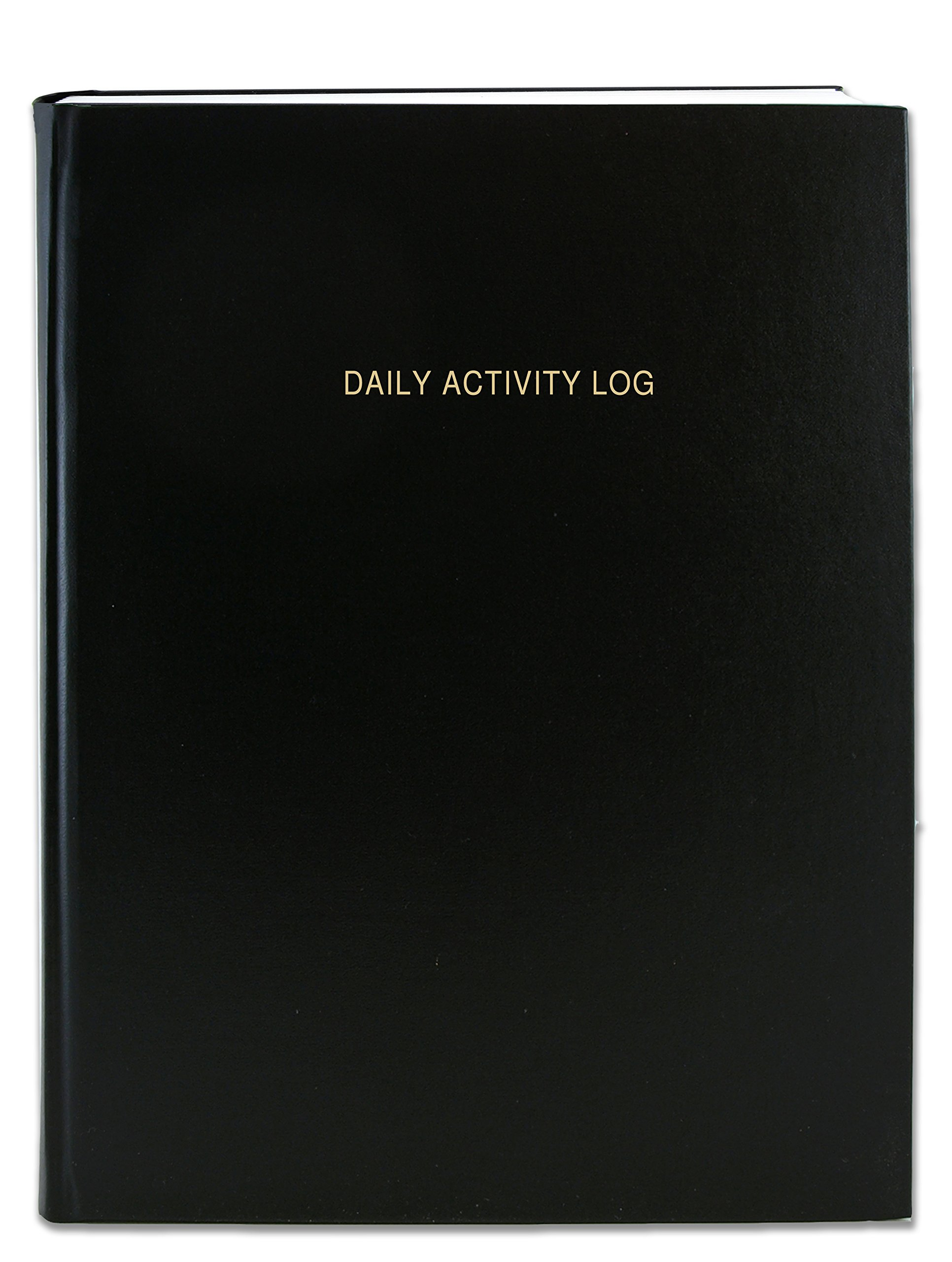 BookFactory Daily Activity Log Book / 365 Day Log Book (384 Pages) / 365 Page Diary, Black Cover, Smyth Sewn Hardbound, 8 7/8'' x 11 1/4'' (LOG-384-DAY-A-LKT32)