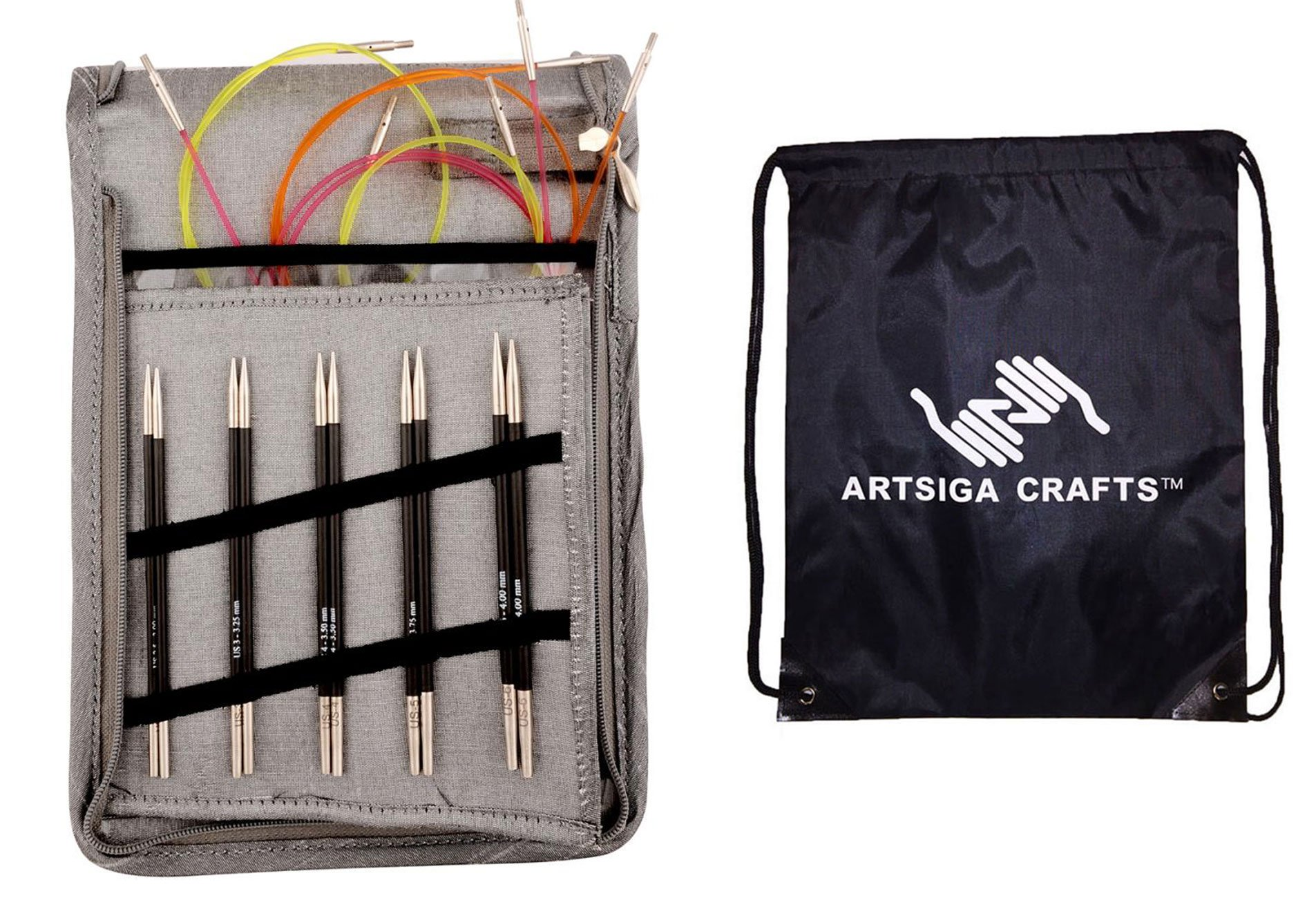 Knitter's Pride Knitting Needles Karbonz Deluxe Interchangeable Long Tip Set Bundle with 1 Artsiga Crafts Project Bag 110603