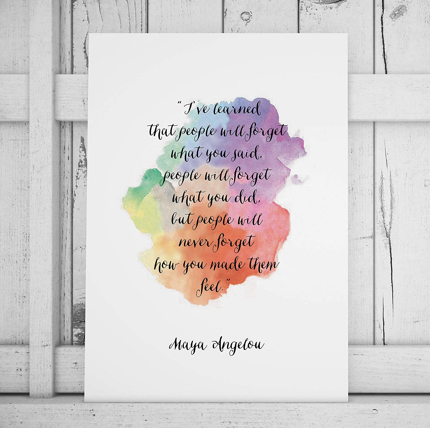 Maya Angelou Quote Print I've Learned That People Will Forget Motivational Poster Inspirational Print Watercolor Paint Handwritten