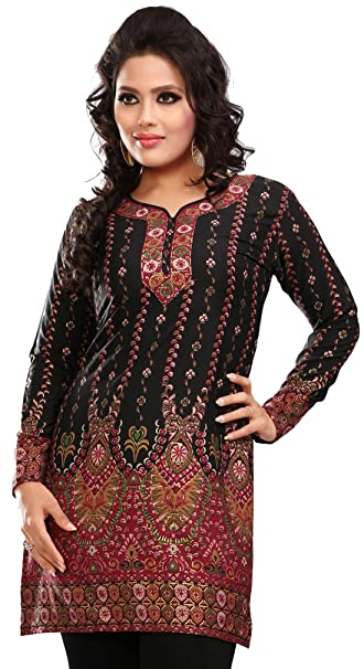 0c559ce777 Indian Tunic Top Womens / Kurti Printed Blouse India Clothing (Off White):  Amazon.ca: Clothing & Accessories