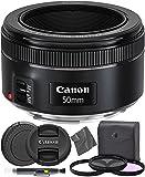 Canon EF 50mm f1.8 STM: (0570C002) Nifty Fifty EF 50 mm f/1.8 Stepper Motor Full Frame Prime Lens + AOM Pro Starter Kit…