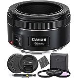 Canon EF 50mm f1.8 STM: (0570C002) Nifty Fifty EF 50 mm f/1.8 Stepper Motor Full Frame Prime Lens + AOM Pro Starter Kit - Int