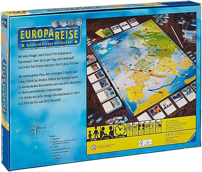 Ravensburger Europareise Viajes/Aventuras - Juego de Tablero (Viajes/Aventuras, 45 min, Niño/niña, 10 año(s), 99 año(s)): Kramer, Wolfgang: Amazon.es: Juguetes y juegos