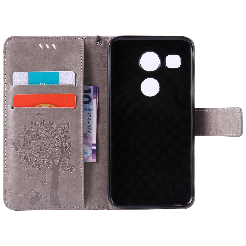Ecoway Arbre /à chat motif papillon de gaufrage /étui en cuir PU Cuir Flip Magn/étique Portefeuille Etui Housse de Protection Coque /Étui Case Cover avec Stand Support Avec de Housse en cuir pour LG Nexus 5X Coque pour LG Nexus 5X