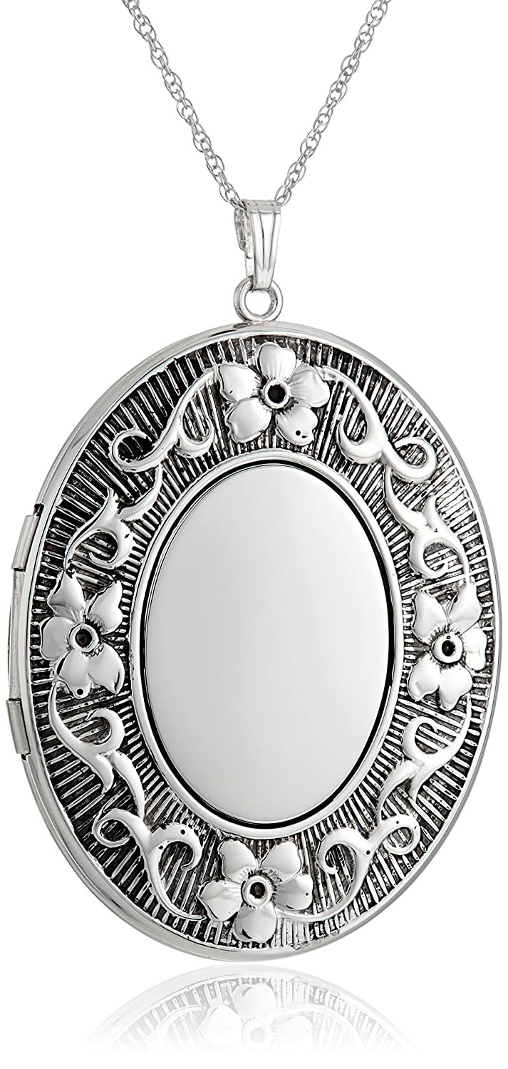 047a531c5f02 Sterling Silver Extra Large Embossed Oval Pendant with Antique Finish  Locket Necklace