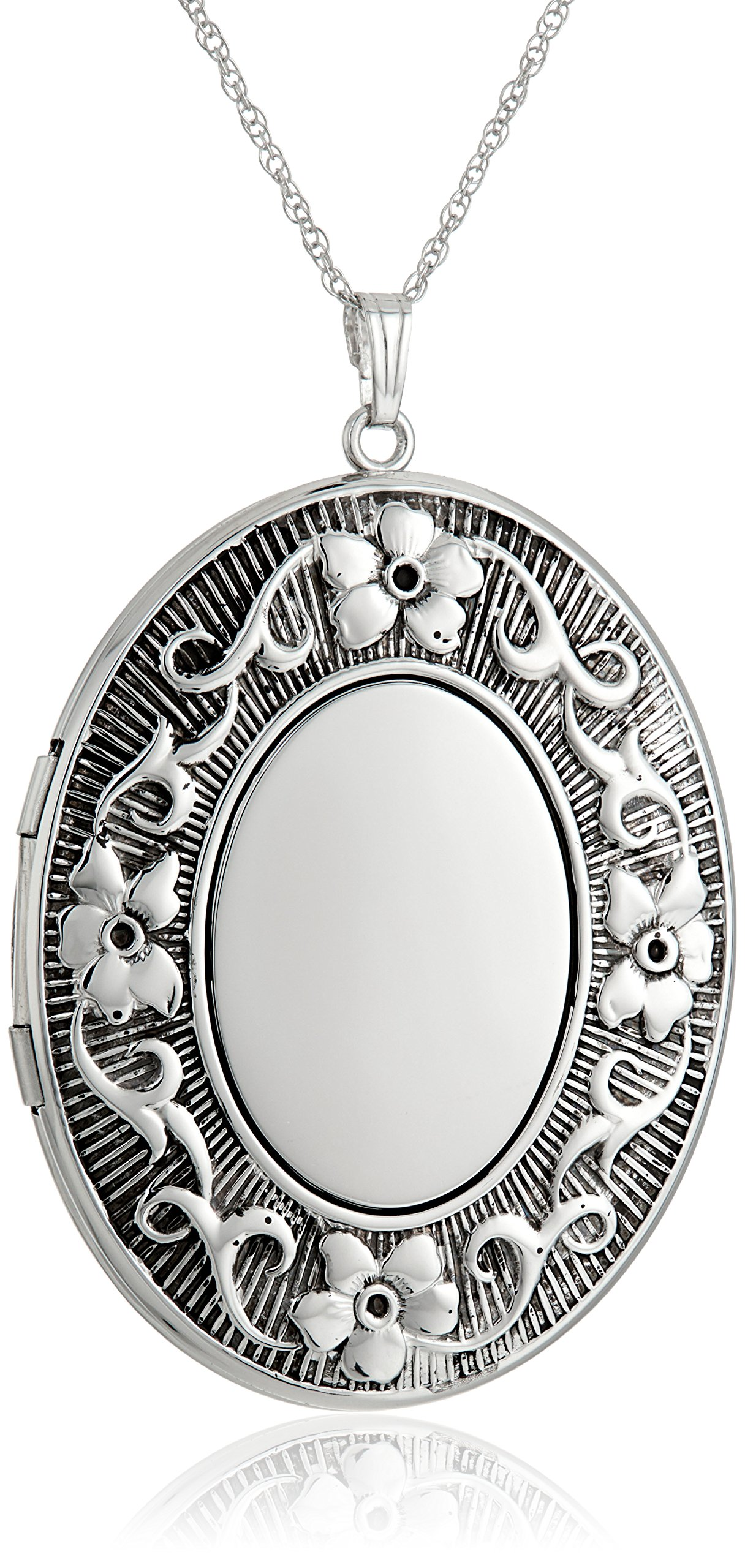 Sterling Silver Extra Large Embossed Oval Pendant with Antique Finish Locket Necklace, 30''