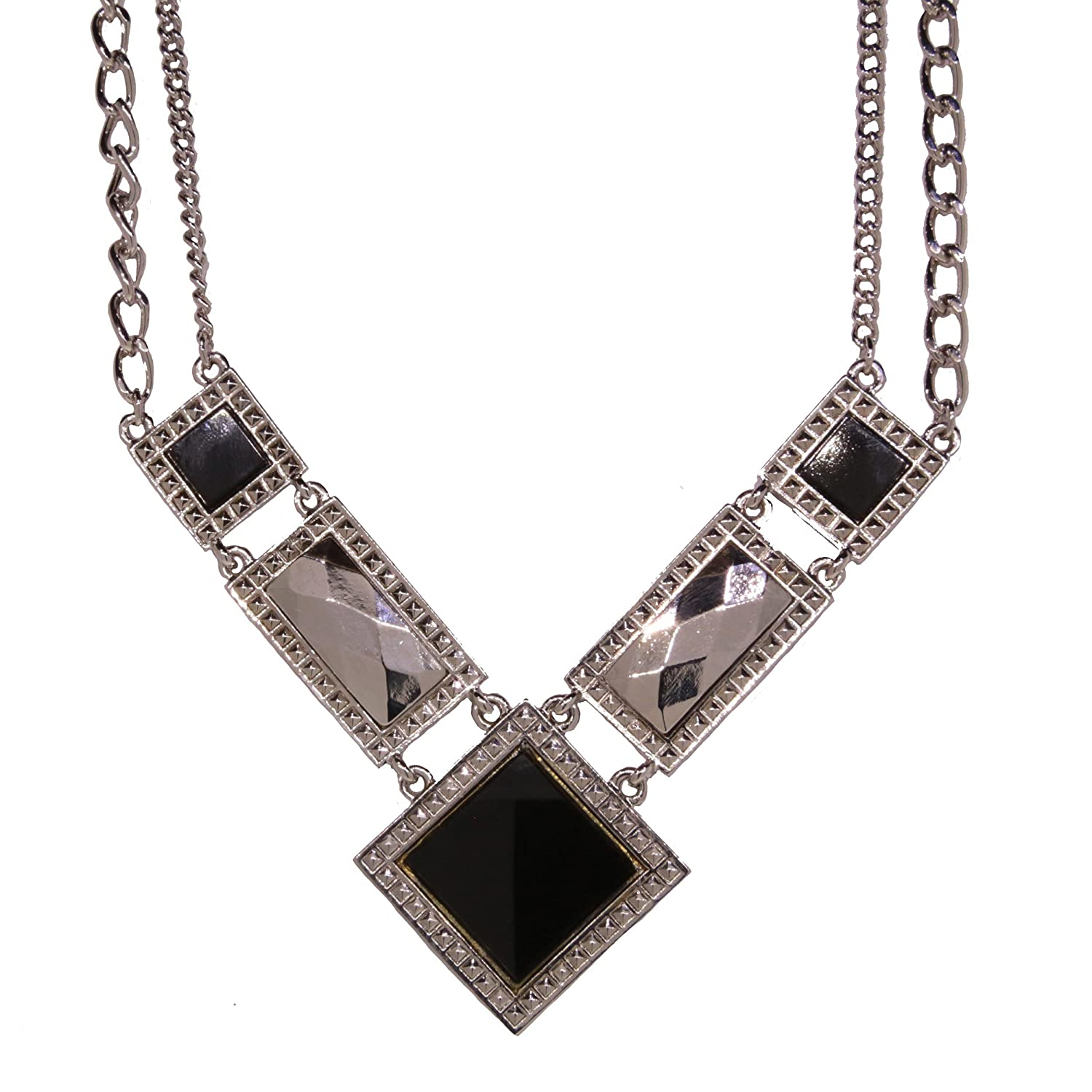 1920s Jewelry Styles History 1928 Jewelry Silver Tone Semi Precious Square Chain Necklace 16 Adj. $95.00 AT vintagedancer.com