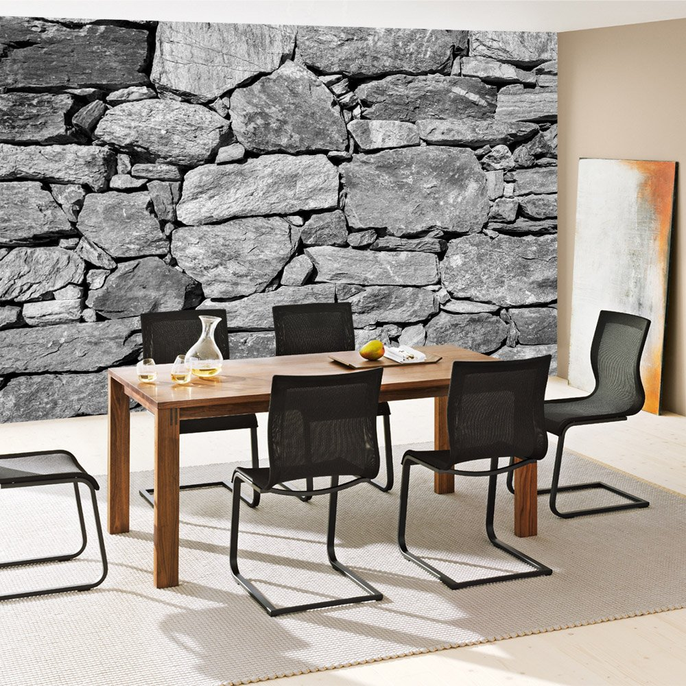 Vlies Fototapete 350x245 Cm PREMIUM PLUS Wand Foto Tapete Wand Bild  Vliestapete   BLACK AND WHITE STONE WALL   Steinmauer Steine Steinwand  Steinoptik 3D ...