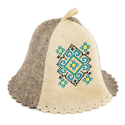 PetriStor Sauna Hat Ukrainian Ornament Blue Bathhouse/Vaporarium Hat for Man/Woman Natural Felt : Garden & Outdoor