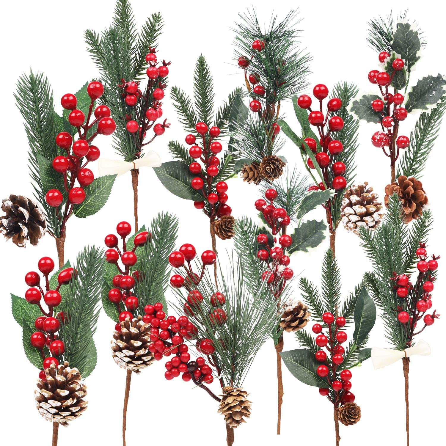 DR.DUDU 12 Pack Christmas Artificial Berry Twigs for Christmas Tree Decoration, DIY Christmas Red Berry Stems Spray for Crafts Wreath Garland Christmas Ornaments Decor, 6 Designs