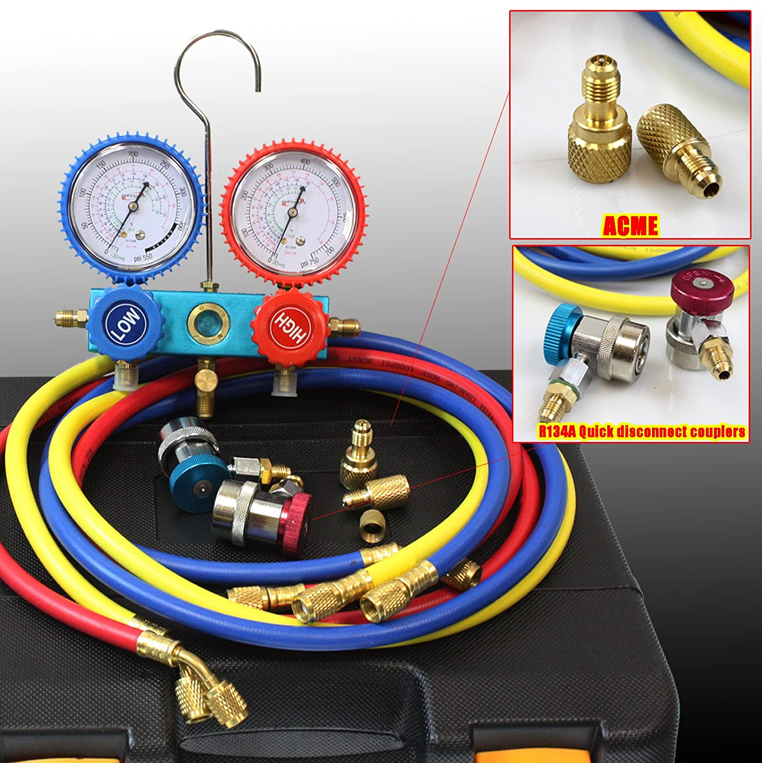 Hvac Ac Manifold Gauges R410a R134a W 3 Charge Hoses Quick Adapter Drawing Book 2 Acme