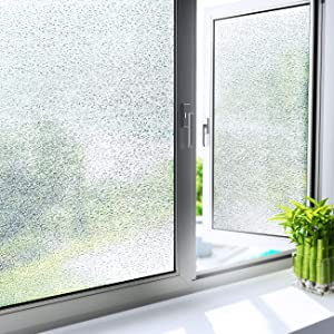 YENHOME Privacy Window Film Frosted Glass Window Non Adhesive Static Cling Window Home Office UV Blocking Window Sticker Removable Glass Film Sticker Heat Control Bathroom Door Covering 17.7x118 inch