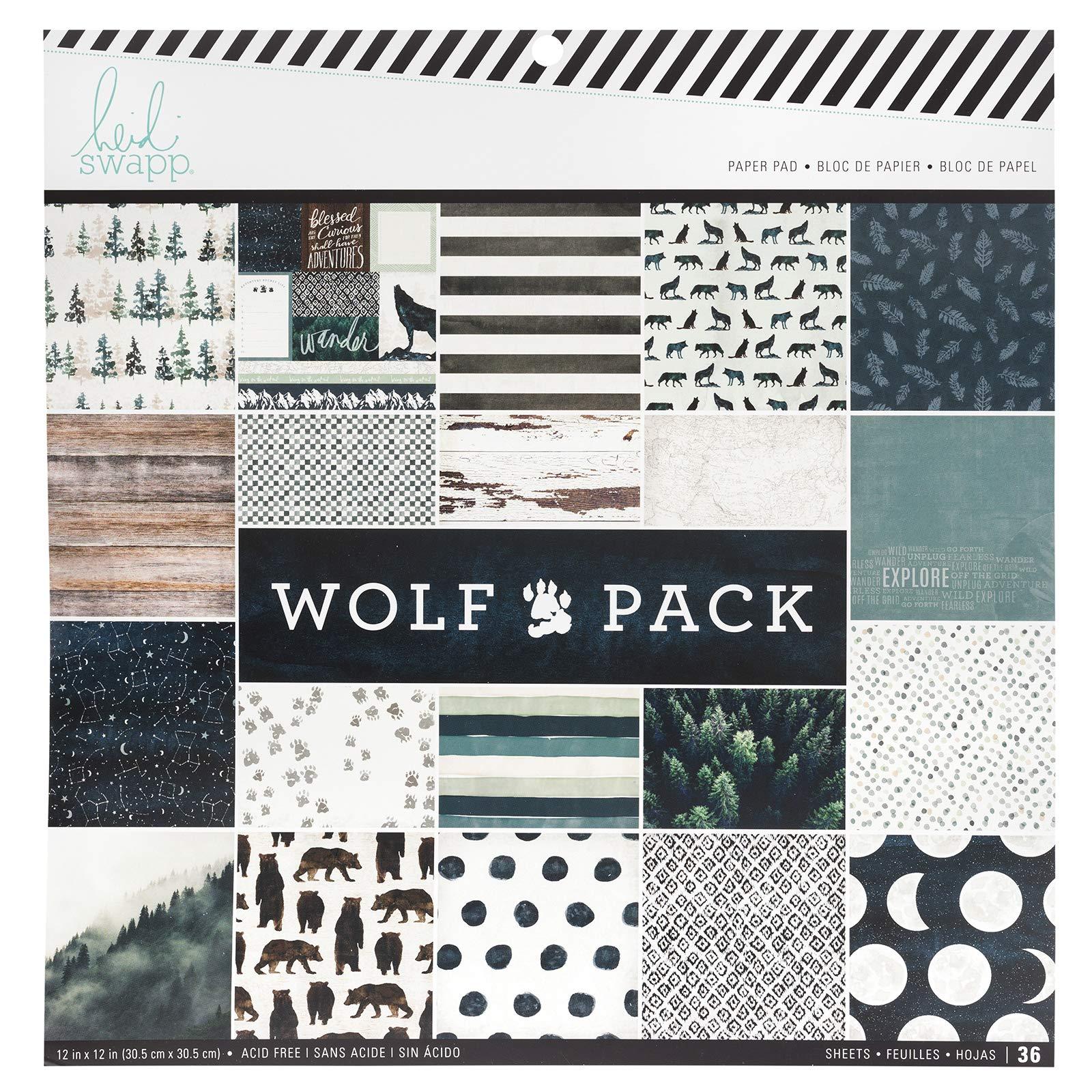 Heidi Swapp 314693 Paper Pad Wolf Pack-12 x 12-36 Sheets, Multi by Heidi Swapp
