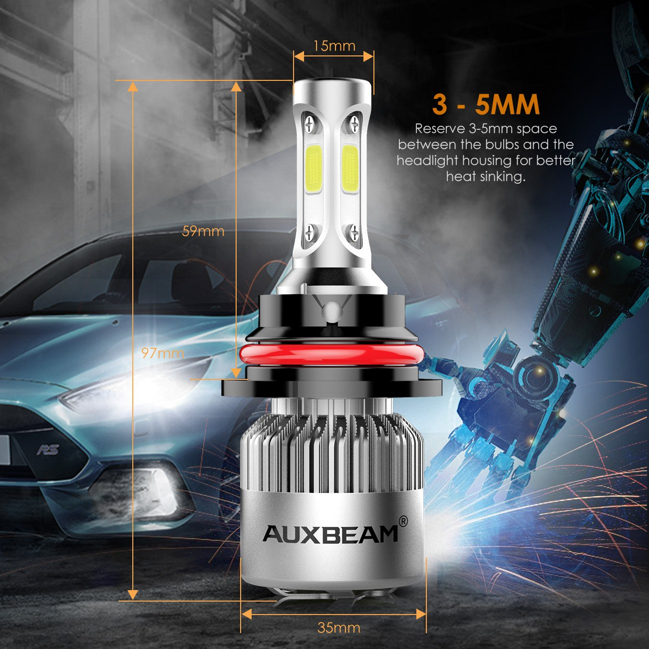 Auxbeam 9004 Led Headlight Bulbs F-S2 Series LED Headlights with 2 Pcs of HB1 LED Headlight Bulbs 72W 8000lm COB Led Chips Hi-Lo Beam