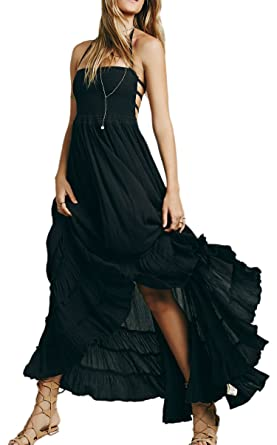 83126346d1 R.Vivimos Womens Summer Cotton Sexy Blackless Long Dresses Small Black