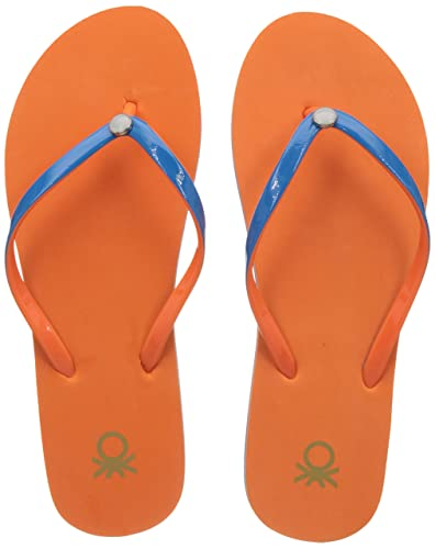 f5ec59944ca2 United Colors of Benetton Women s Orange Flip-Flops and House Slippers - 3  UK