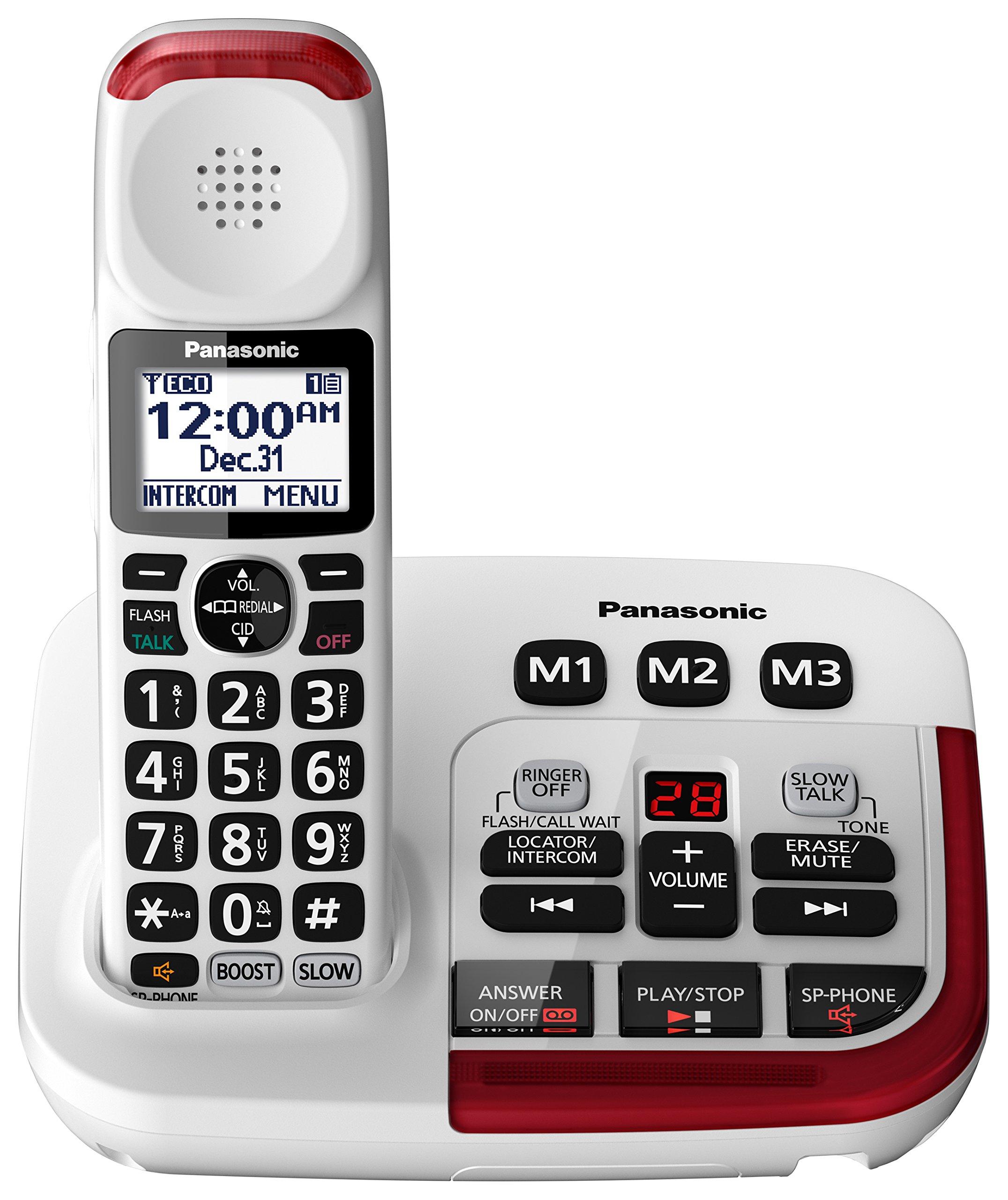 Panasonic KX-TGM420W Amplified Cordless Phone with Digital Answering Machine, 1 Handset, White