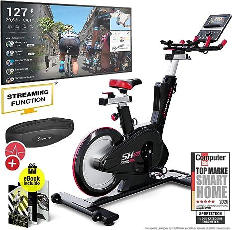 Sportstech Bicicleta de Elite - Marca de Calidad Alemana - Eventos en Directo & App Multijugador, Sistema de Freno magnético controlado por Ordenador, Volante de 26KG, Manillar Deportivo - SX600: Amazon.es: Deportes