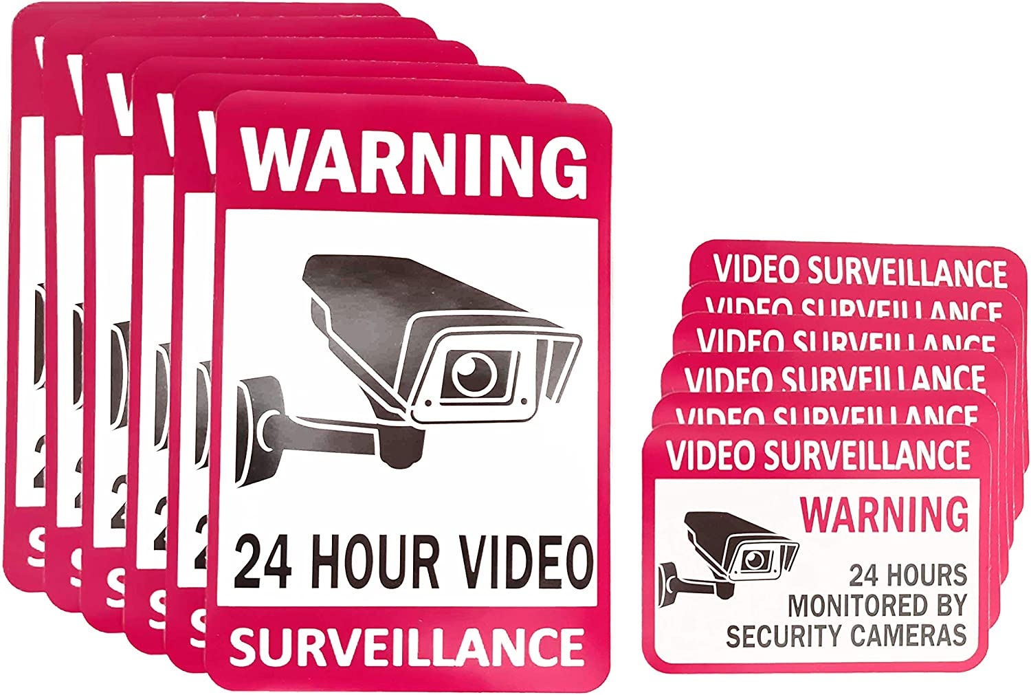 "12-Pack Video Surveillance Sign (6-pack 6""x4"" & 6-pack 3.5""x2.5""), Double-Sided Vinyl Decals for No Trespassing-Warning Sticker-Security Sign-Surveillance Camera-Recording Sign, Laminated for UV-Water"
