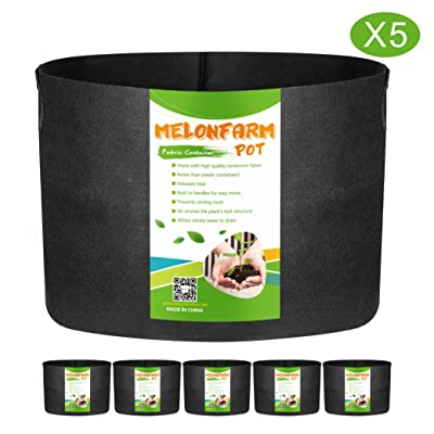 MELONFARM 5-Pack 20 Gallon Grow Bags Heavy Duty Aeration Fabric Pots, Thickened Non-Woven Plant Smart Pots with Durable Handles, for Plant Growing : Garden & Outdoor