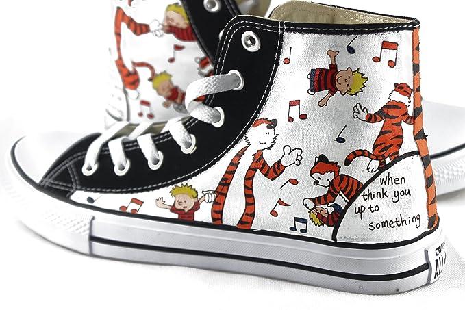 hand painted shoes Zapatos pintados a mano Hombres Mujeres Converse Todas las estrellas Calvin y Hobbes Diseño Zapatillas Top Alta: Amazon.es: Hogar