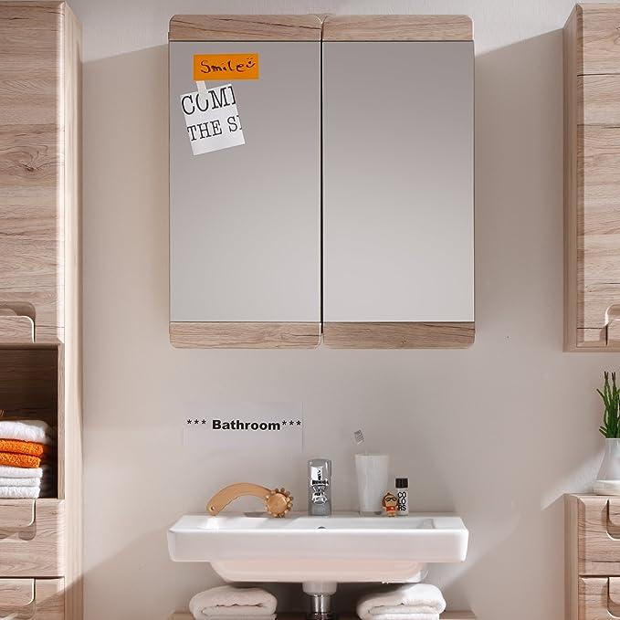 trendteam Camerino de baño con espejo Espejo Malea, 65 x 70 x 15 cm en acabado roble claro San Remo con mucho espacio