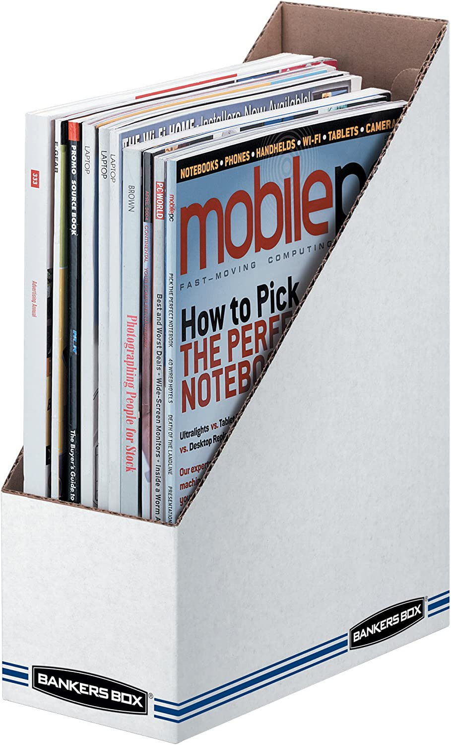 Bankers Box 10723 Corrugated Cardboard Magazine File, 4 x 9 1/4 x 11 3/4, White (Case of 12)