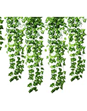 GoFriend 12 Strands (83 Feet) Artificial Ivy Garland Foliage Green Leaves Fake Hanging Vine Plant for Wedding Party Garden Wall Decoration