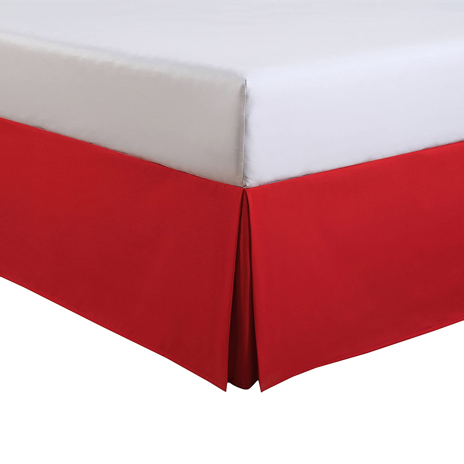 """Fresh Ideas Kids Full Bed Skirt - Lux Hotel Tailored Microfiber Bedskirt, Classic 14"""" Drop Length – Red"""