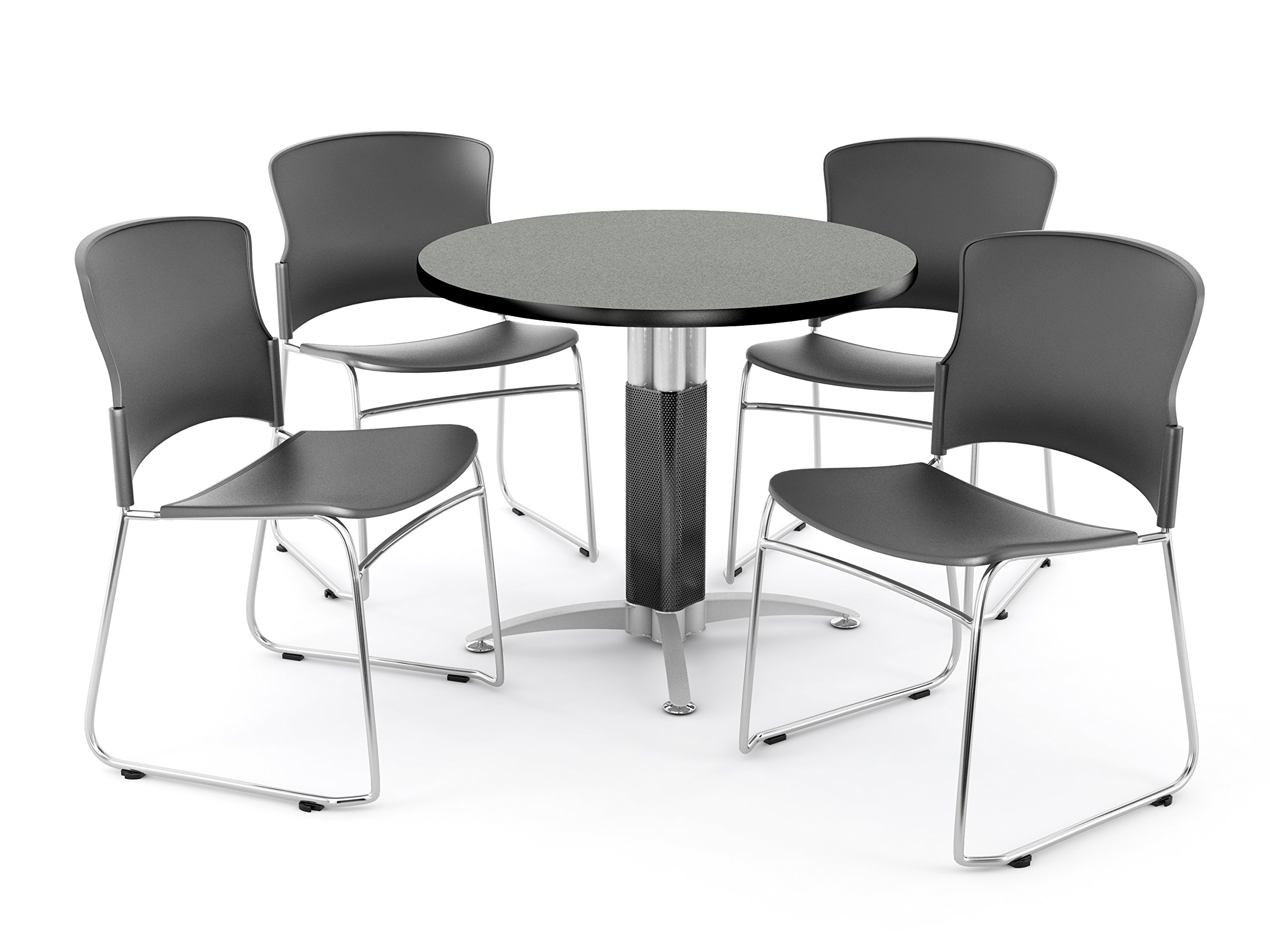 OFM Core Collection Breakroom Set, 42'' Round Metal Mesh Base Multi-purpose Table in Gray Nebula, 4 Multi-use Plastic Stack Chairs in Gray (PKG-BRK-029-0005)