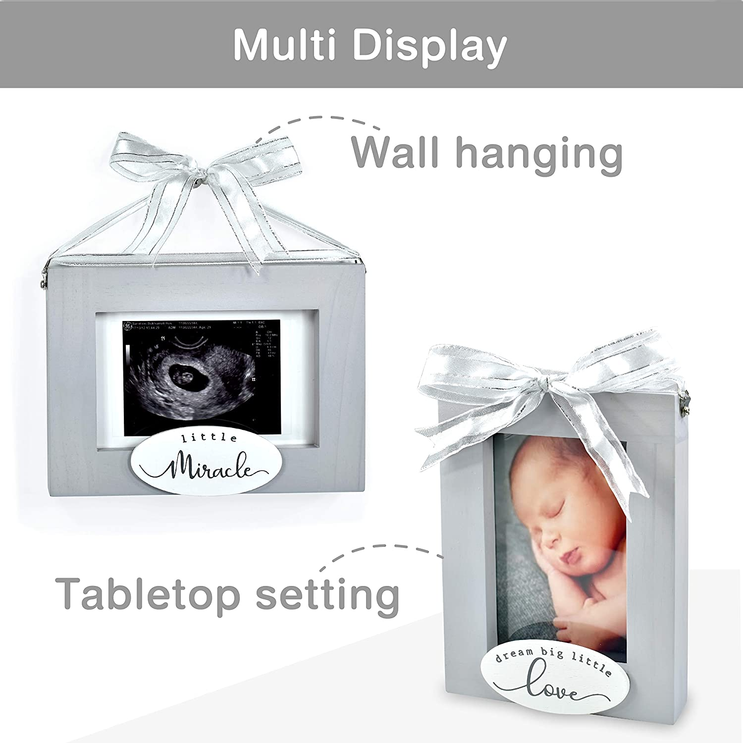 "I/'m Solid Wood Sonogram Pregnancy Baby Ultrasound 2 Sided Photo Frame Gray Great for Expecting New Parents Baby Shower Gift Keepsake /& Nursery D/écor /""Little Miracle//Dream Big Little Love"