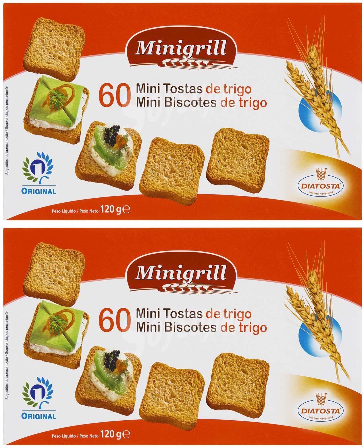 Minigrill Diatosta Wheat Flour Mini Toast Mini Biscottes 4.3 oz. (Pack of 2) 60 Per Box by Minigrill