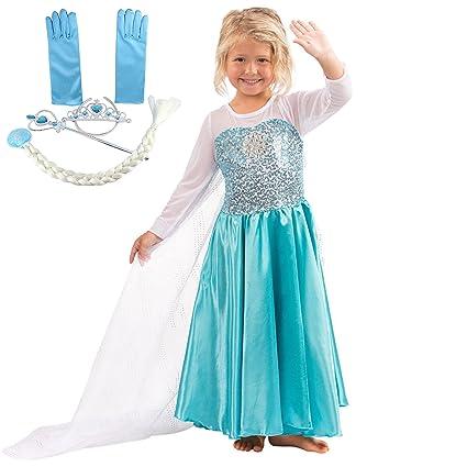 Katara - Vestido de princesa Elsa de Frozen traje de disfraz con lentejuelas y tren de tul, azul-blanco, con set de princesa - para niñas de 4-5 años