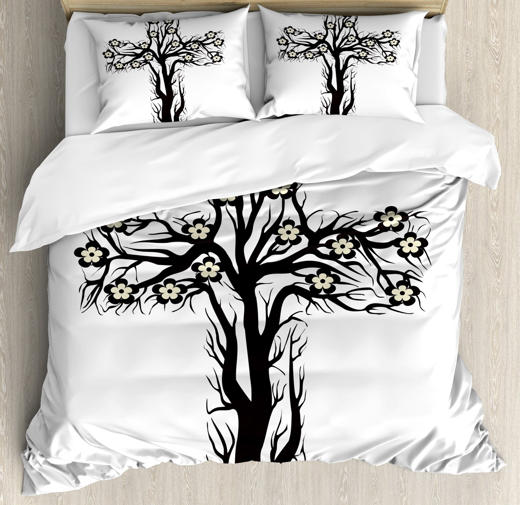 Baptism Duvet Cover Set by Ambesonne, Floral Christian Cross in Tree Shape Christ Religion Prayer Blessed Miracle Symbol, 3 Piece Bedding Set with Pillow Shams, Queen / Full, Black Cream