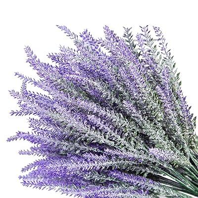 pack of 3 Stems Artificial Plastic Purple Lavender Flower Bunch Spray
