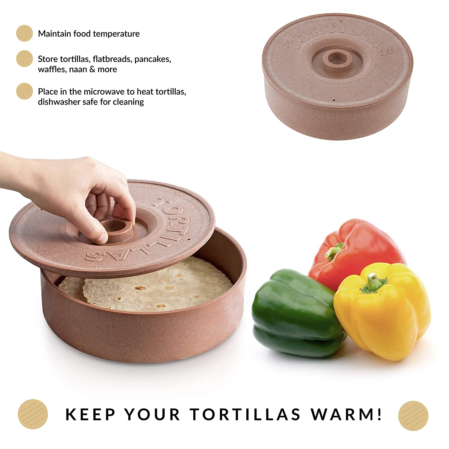 Taco Stand//Storage Newbury Home Tortilla Warmer and Taco Stand Combo: 2PK Stainless Steel Holders Perfect Gift Idea Microwave Tortillas 1 BPA Free Tortilla Keeper With Lid