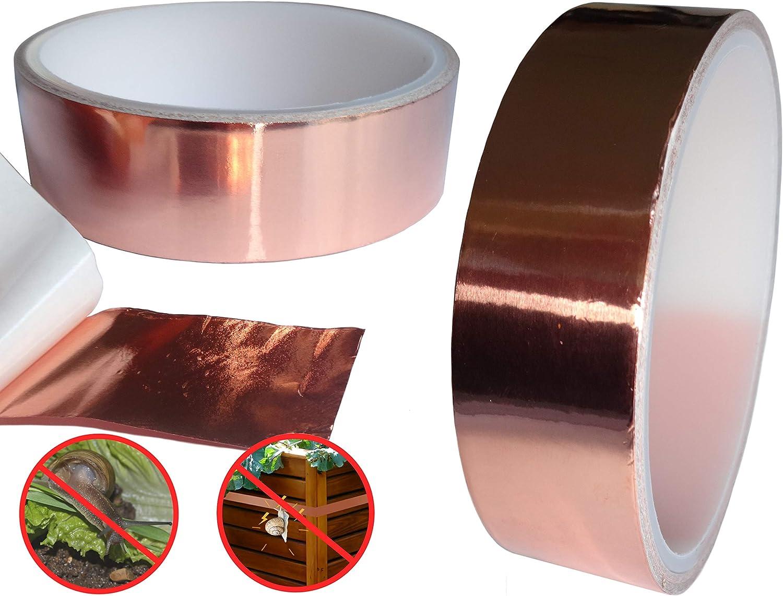 sin productos qu/ímicos 24 mm x 4 m Banda de cobre para caracoles O/&W Security respetuosa con el medio ambiente autoadhesiva conductora