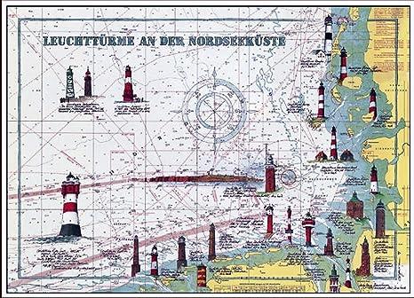 Kunstdruck 70 X 50 Leuchtturme Nordsee Auf Seekarte Leuchtturm