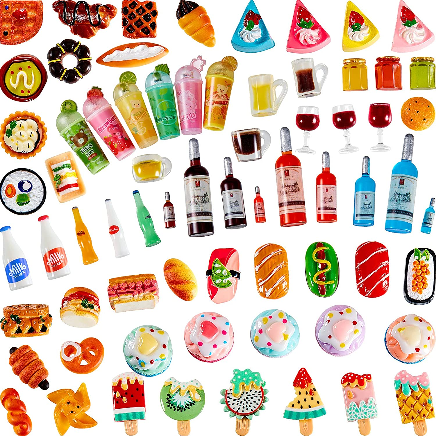 Sumind 81 Pieces Miniature Food Drinks Toys Mixed Pretend Foods for Dollhouse Kitchen Play Resin Mini Food for Adults Teenagers Doll House Game Party Toys