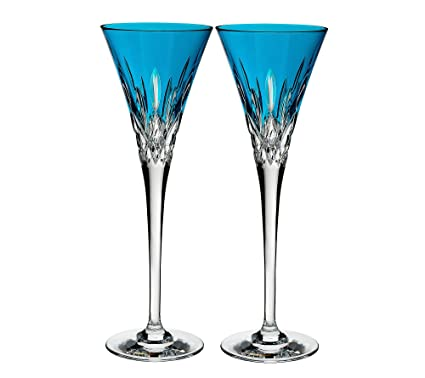 46946c19730c Image Unavailable. Image not available for. Color: Waterford Lismore Pops  Set of 2 Flutes Aqua