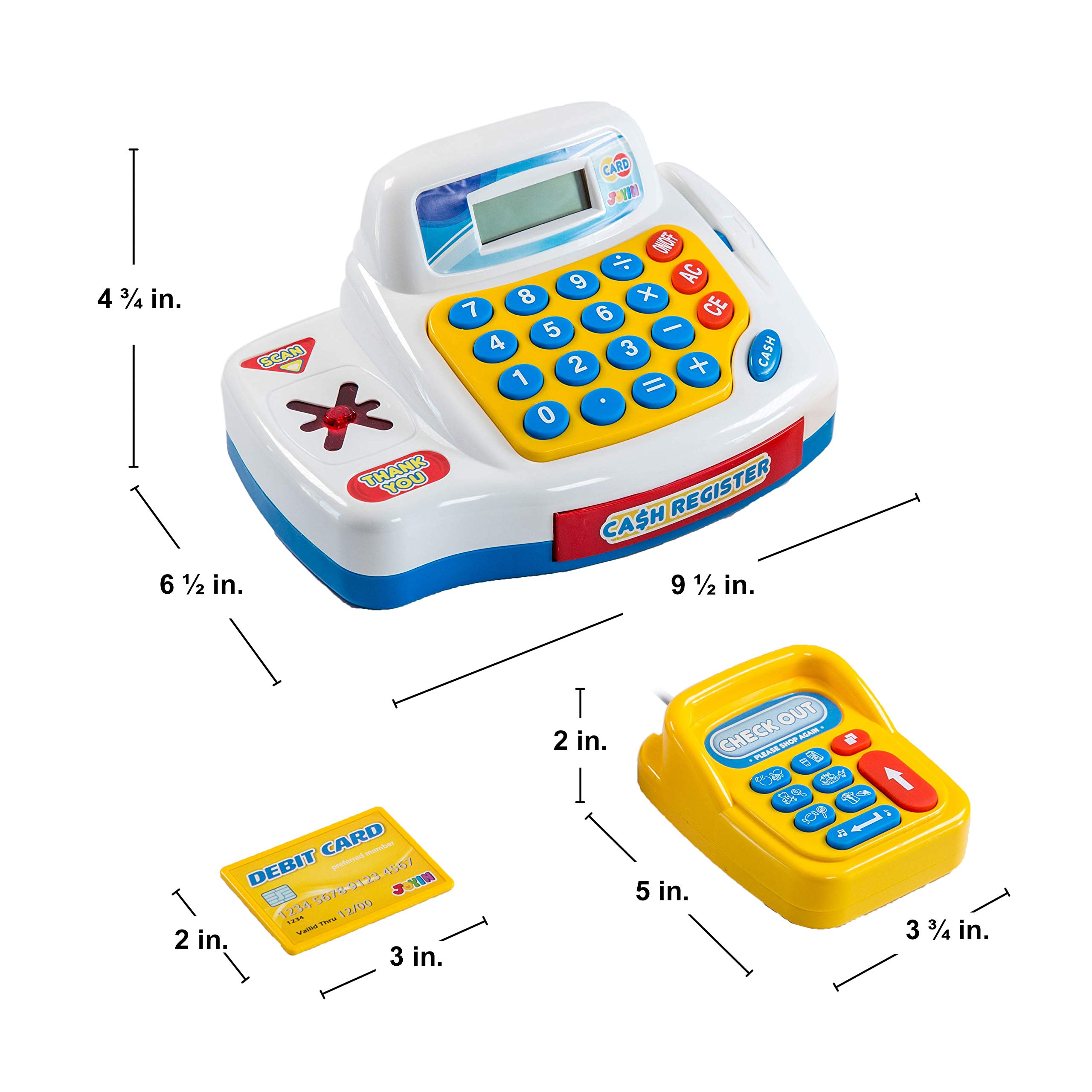 Toy Cash Register Shopping Pretend Play Money Machine with Dual Languages, Scanner, Card Reader and Grocery Play Food Set for Kids Boys and Girls Gifts, Toddler Interactive Learning, Teaching Tools. by JOYIN (Image #4)