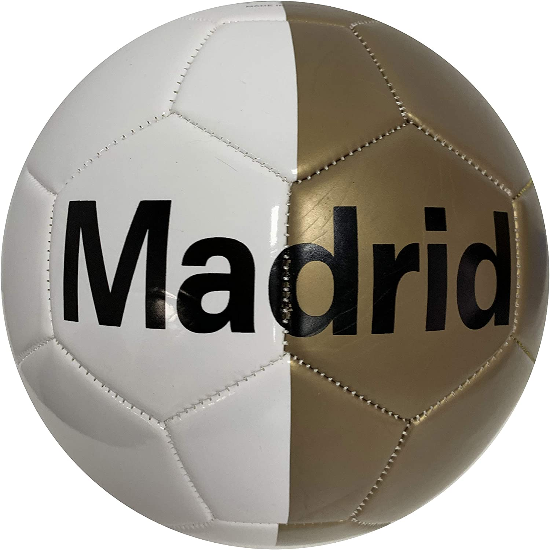Junatoys- Balón fútbol símil Cuero Madrid Oro (32937): Amazon.es ...