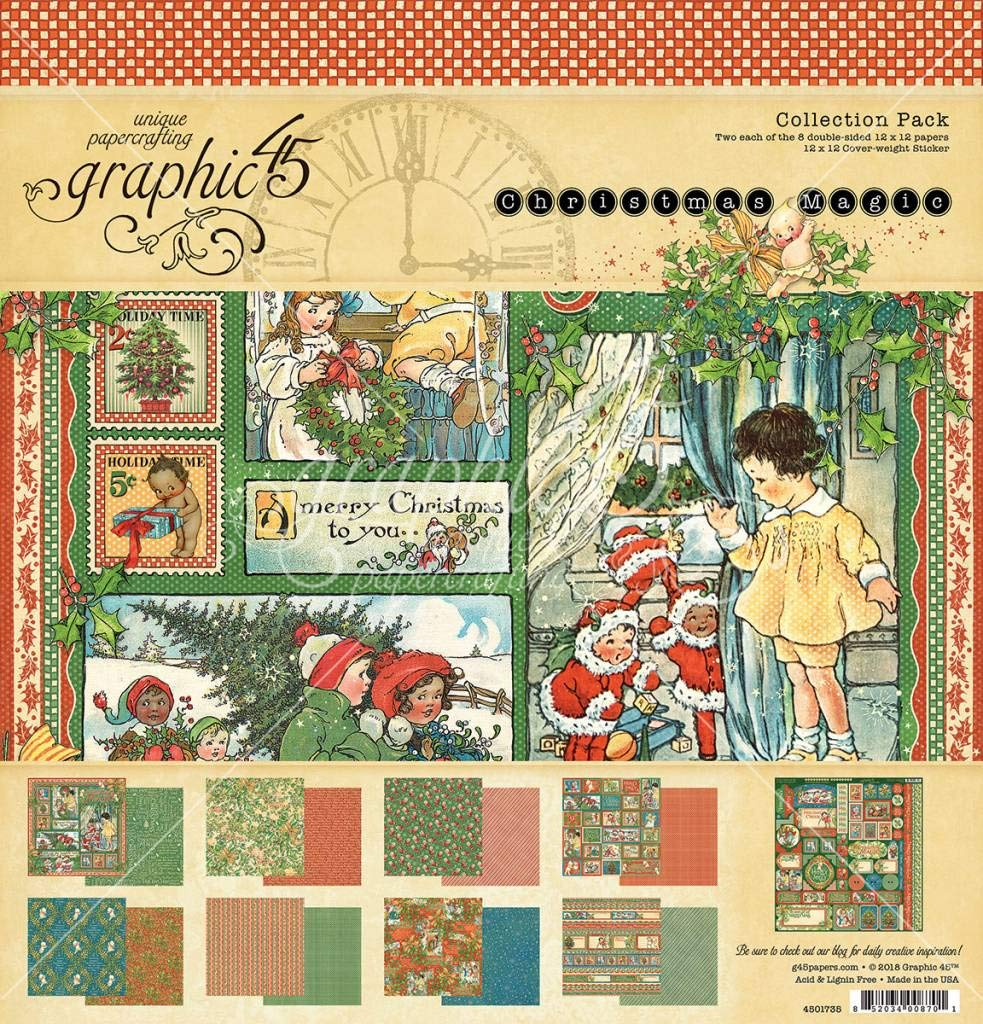 Graphic 45 4501735 Christmas Magic 12x12 Collection Pack Craft Paper, Multi