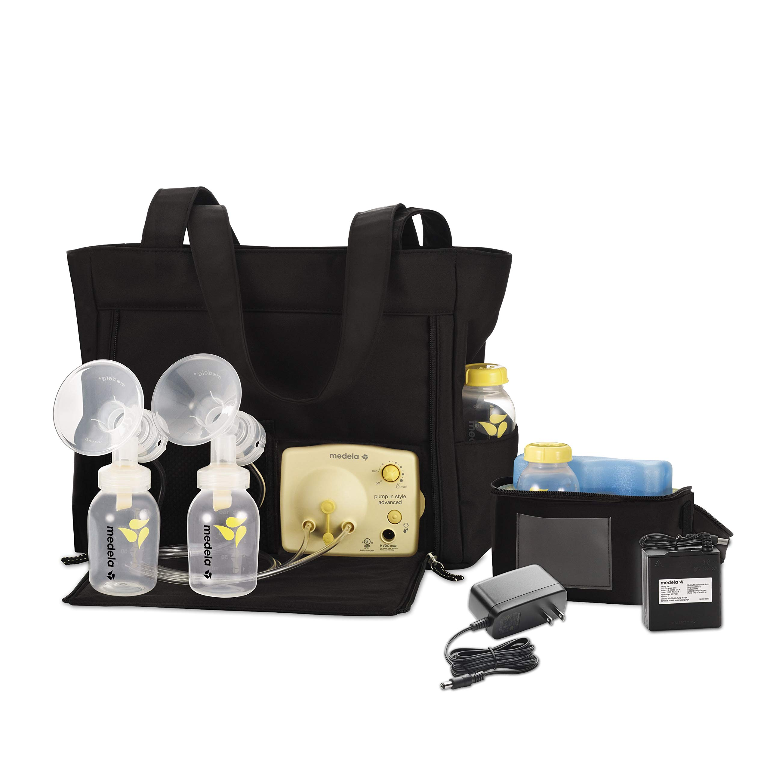 Medela Pump in Style Advanced with Tote, Electric Breast Pump for Double Pumping, Portable Battery Pack, Adjustable Speed and Vacuum, International Adapter, Built-In Bottle Holders by Medela