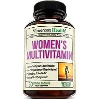 Women's Daily Multivitamin Supplement. Biotin, Vitamins A B C D E, Calcium, Zinc, Lutein, Magnesium, Manganese, Folic Acid and More. Natural, Non-GMO, Gluten Free & Dairy Free (60 Capsules)