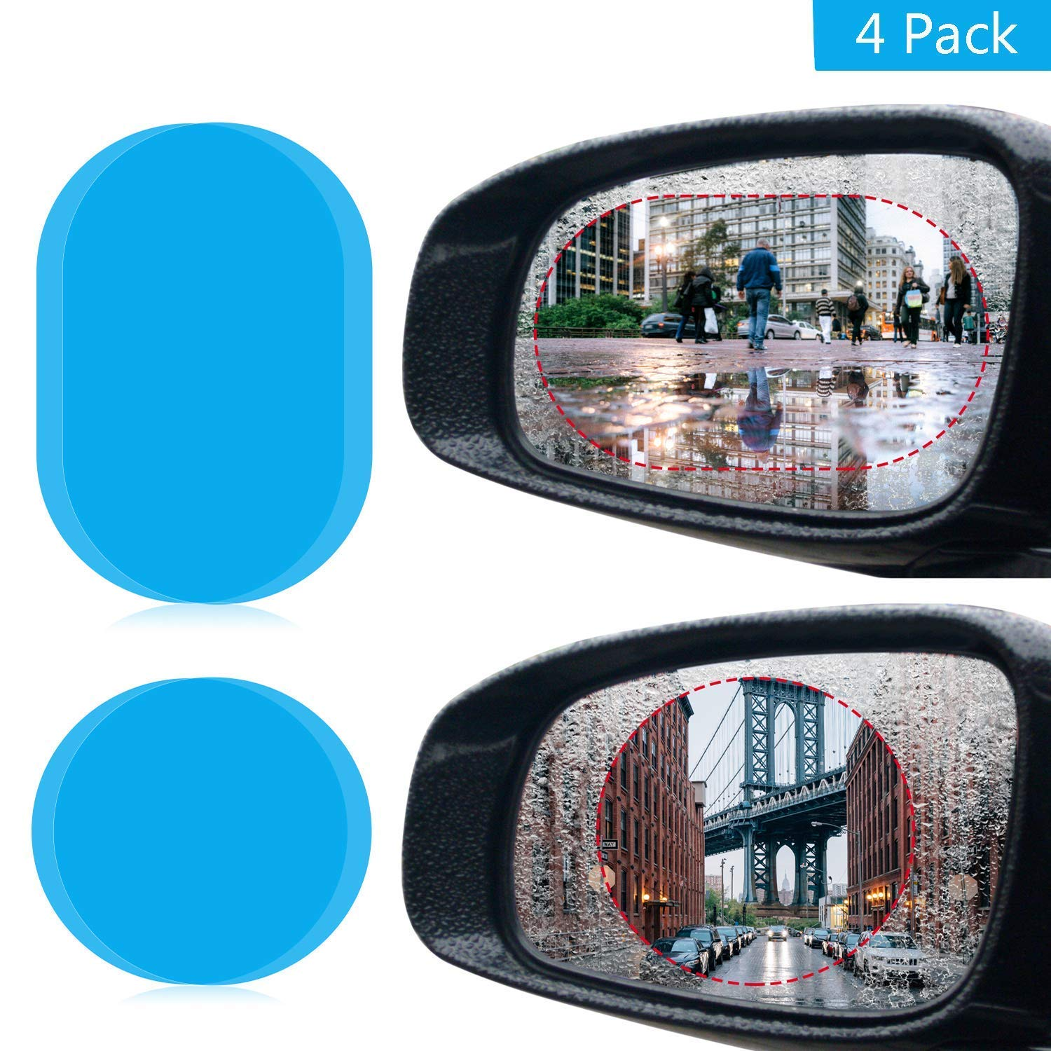 Car Rearview Mirror Film,JOLVVN Mirror Protective Nano Film with Anti Fog Film Anti-Glare Anti Mist Anti-Scratch Waterproof /& Rainproof Window Clear Glass Film for All Universal Cars 4 Pack