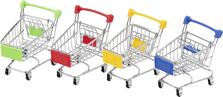 Whitelotous Mini Supermarket Handcart Green Shopping Utility Cart Mode Green Storage