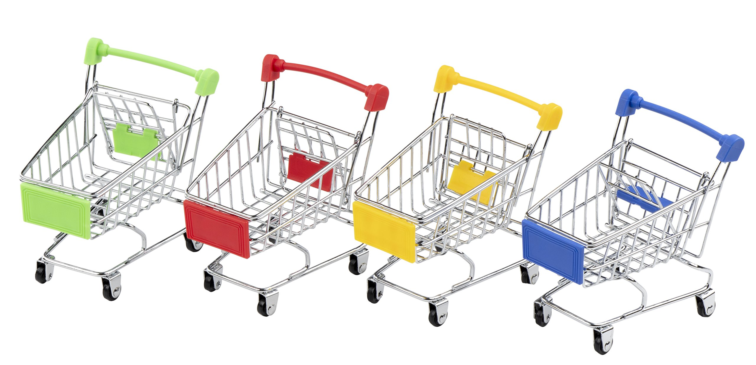 Juvale Mini Shopping Cart - 4-Pack Desk Organizers, Pen Pencil Holder Storage Toy for Stationery Supplies, 4 Colors, 3.25 x 4.375 x 4.75 Inches