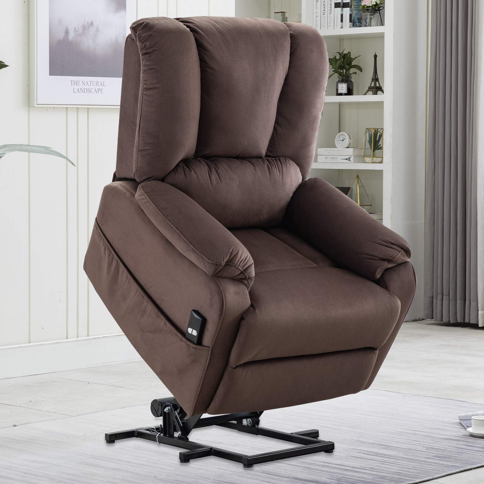 CANMOV Power Lift Recliner Chair for Elderly- Heavy Duty and Safety Motion Reclining Mechanism-Antiskid Fabric Sofa Living Room Chair, Chocolate